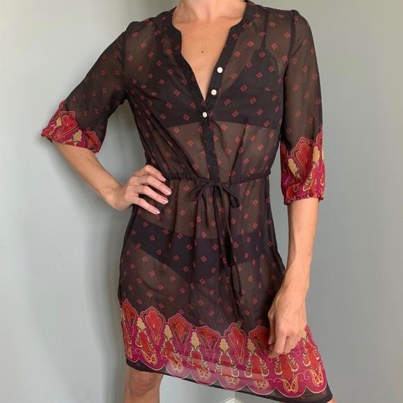 XS/S Boho See-Thru Casual Shirtdress Coverup